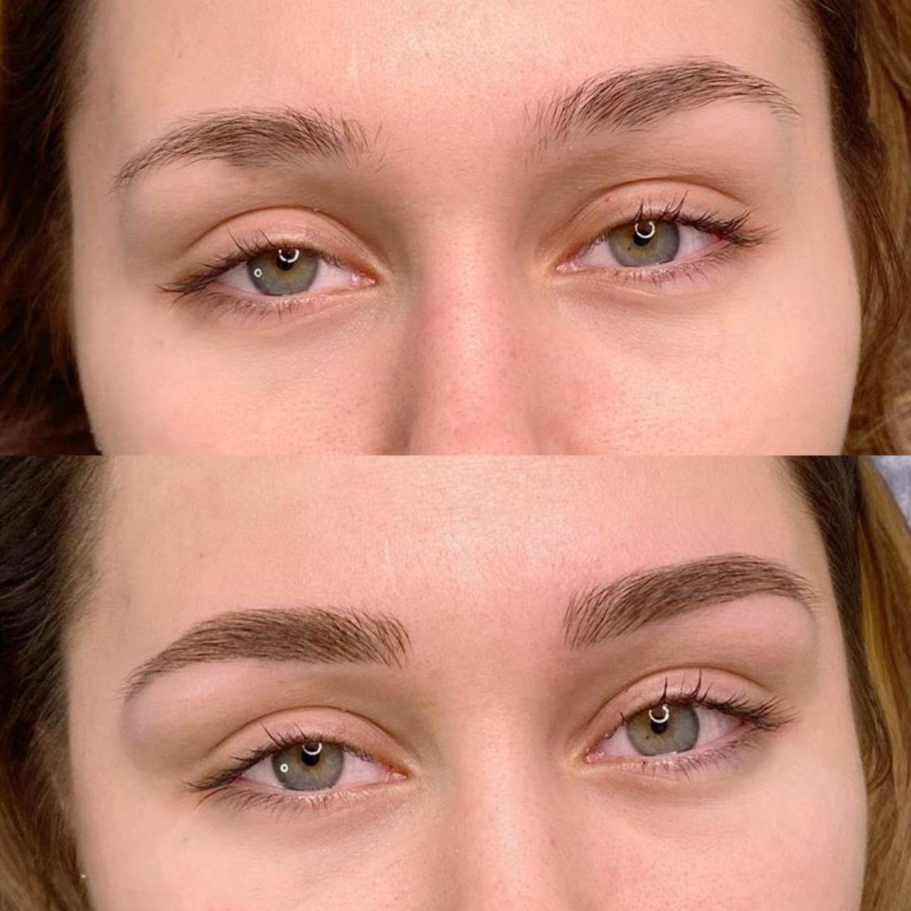 Пудровые брови До и После