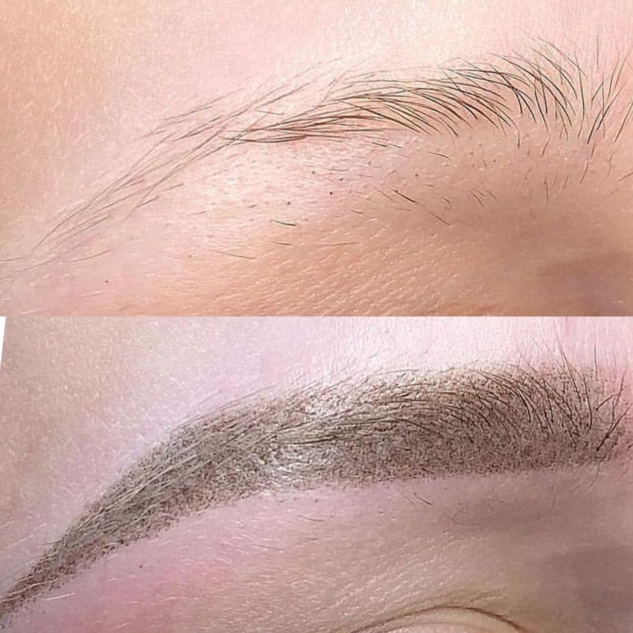 Пудровое напыление бровей До и После